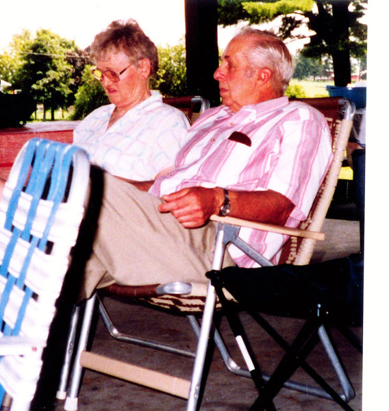 "Evelyn Lois (Dew) Gruben (1929-2004), Dean Edward Gruben born 1930.  Written in the Rogers Reunion Photo Album Volume III ""Evie & Dean Gruben 1999 reunion"""
