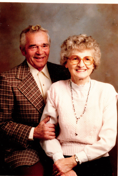 "Herman Baumez (1928-2002), Donna Rogers (Dew) Baumez (1927-2006)  Written in the Rogers Reunion Photo Album Volume III page 137 ""Donna Rogers Dew photo taken 1988 Herman Baumez Jr."""