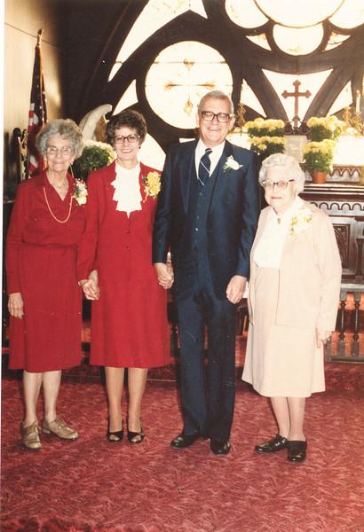"Unknown, Katherine ""Kay"" E. (Seiter) Frawert (1934-2009), Paul Eugene Frawert b. 1927, Josie Louisa (Dew) Brinker (1897-1999)  Written in the Rogers Reunion Photo Album Volume III page 62 ""Paul and Kay Frawert""."