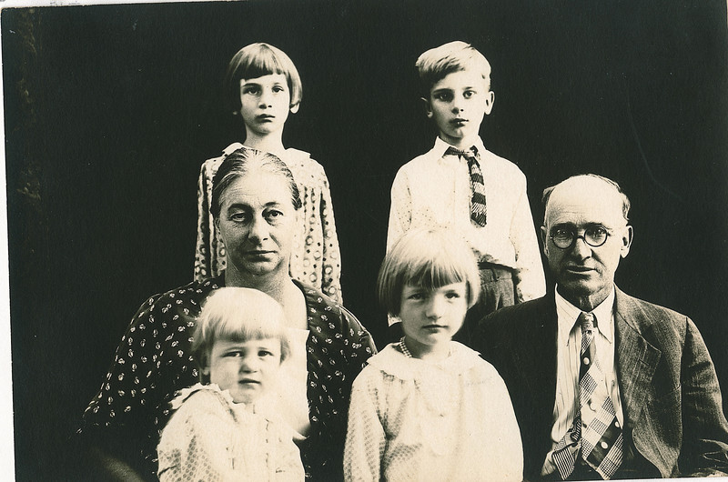 """Back row: Edna Ruth Dew (1925-2003), Robert Edwin Dew (1924-2006)<br /> Middle row: Jennie Belle (Pittman) Dew (1887-1966), William Alfred Dew (1869-1965)  <br /> Front row: Evelyn Lois Dew (1929-2004), Donna Rogers Dew (1927-2006)<br /> Written in the Rogers Reunion Photo Album Volume III page 109 """"Family by Wms' 2nd marriage Edna & Edwin - Jennie & Will - Evelyn (in Jennie's lap) & Donna."""""""