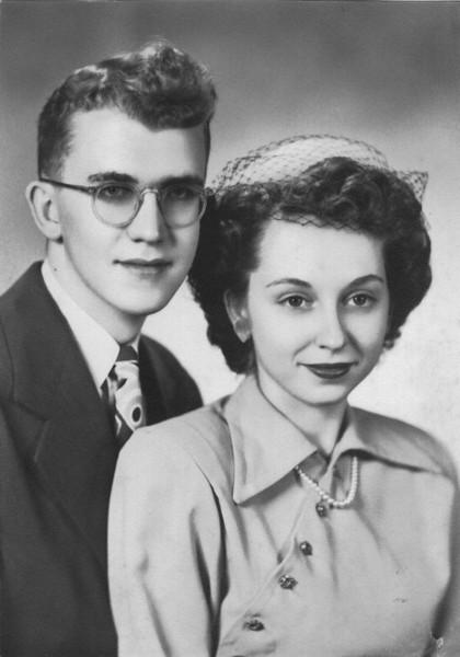"Paul Eugene Frawert (1927-), Betty Florine (Manis) Frawert (1928-)  Written in the Rogers Reunion Photo Album Volume III page 61 ""Paul & Betty wedding pic?"""