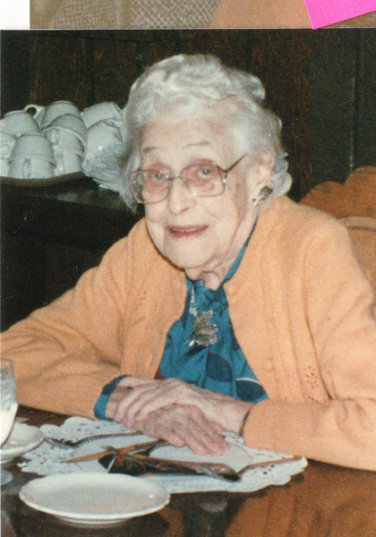 """Mary Lavinna Dew (1895-1992)  Written in the Rogers Reunion Photo Album Volume III page 57 """"Mary 1986 at a Dixon, IL restaurant"""""""