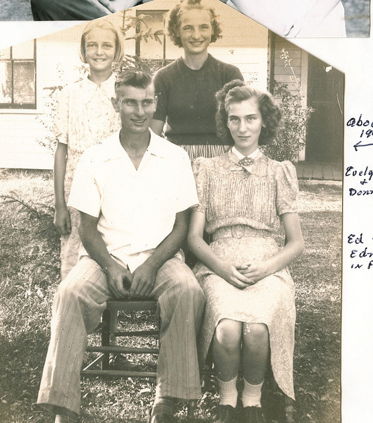 """Back: Evelyn Lois Dew (1929-2004), Donna Rogers Dew (1927-2006)<br /> Front: Robert Edwin Dew (1924-2006), Edna Ruth Dew (1925-2003)<br /> Written in the Rogers Reunion Photo Album Volume III page 113 """"About 1940 - Evelyn & Donna - Ed & Edna in front"""""""