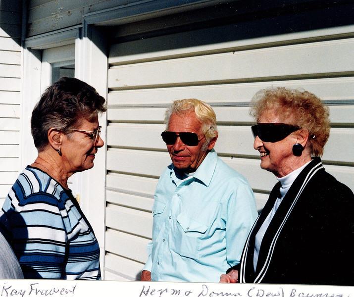 """Katherine E. (Seiter) Frawert (1934-2009), Herman Baumez (1928-2002), Donna Rogers (Dew) Baumez (1927-2006) Written in the Rogers Reunion Photo Album Volume III page 138 """"Kay Frawert, Herman & Donna (Dew) Baumez"""""""