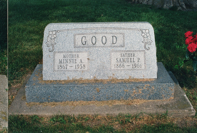 """Cemetery Marker in Fairmont Cemetery, Polo, Ogle County, Illinois for Minnie Alice (Dew) Good (1867-1958) and  Samuel Peter Good (1866-1966)  Written in the Rogers Reunion Photo Album Volume II page 60 near photo """"Fairmont Cemetery – Ogle County – Polo, IL """""""