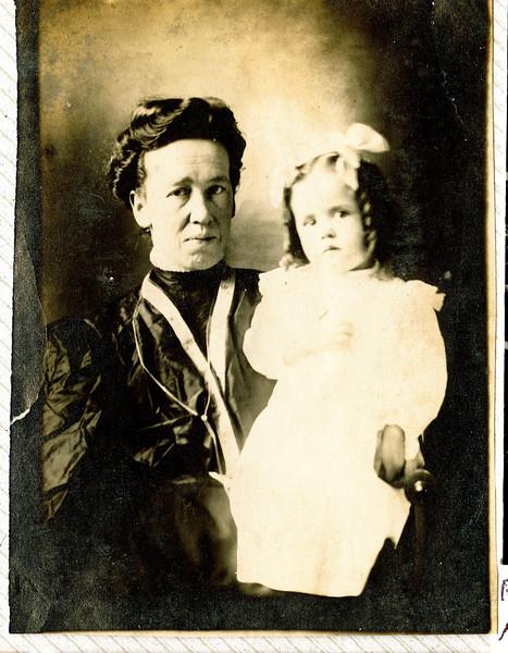 "Minnie Jane (Meredith) Irwin (1869-1968), Thelma Mae Irwin (1904-2001) Written in the Rogers Reunion Photo Album Volume II page 37 near photo ""Minnie Irwin and dau. Thelma."