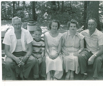 "Frank Case Meredith (1911-1984), Harry James Meredith (1946 - ), Virginia Huelle (Bowman) Meredith (1922-2006), Elizabeth ""Betty"" June (Sheehan) Meredith (1920-1988) Ford Clark Meredith (1920-1998) Written in the Rogers Reunion Photo Album Volume II page 27 with the photograph ""Frank, son Harry, Virginia, Betty, Ford C. photo taken 1956 Rogers Reunion at Lowell Park, Dixon, IL"""