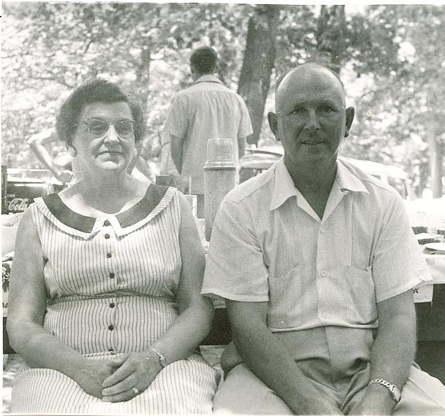 "Ruth Rosannah (Good) Bausman (1900-1973) and Orville Bausman (1907-1991)  Written in the Rogers Reunion Photo Album Volume II page 67 under the photo ""Ruth and Orville - 1956""."