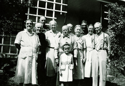 "Back: James Reasman Meredith (1909-1978), William Alfred Dew (1869-1965), Albert Rogers Meredith (1911-1988), Front row: Mabelle Elizabeth (Coursey) Dew (1896-1961), William Harrison Meredith (1865 – 1959), Jennie Belle (Pittman) Dew, Warner Underwood Irwin (1873-1968), Minnie Jane (Meredith) Irwin (1869-1968), Esther Permilla (Meredith) Lipsey (1908-1997), Byron Elmer Dew (1893-1986), Little girl: Bessie May Lipsey (1947- )Written in the Rogers Reunion Photo Album Volume II page 37 near photo ""9/12/52 at Aunt Permillas home, Kersey Pa. Rear: James Meredith, Will Dew, Albert Meredith   Next: Mable Dew, W.H. Meredith, Jennie Dew, Warner Erwin (sic), Minnie Erwin (sic), Esther Medith (sic) Lipsey and Elmer D. Little girl is Bessie Lipsey, age 5."""