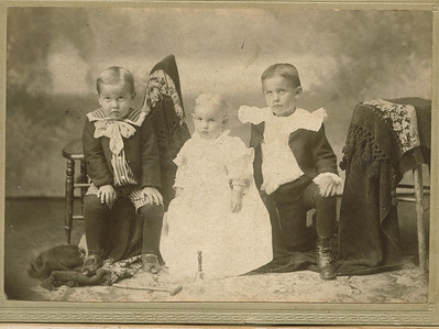 "Glenn Virgil Conrad (1896-1929), Max Albert Conrad (1898-1982), Frantz Cecil Conrad (1895-1979)  Written in the Rogers Reunion Photo Album Volume II page 49 near the photo ""Frantz age 4 yrs, Glen age 3 yr, Max ag 1 yr. 6 mo Flora's boys"""