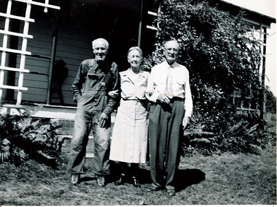 "William Harrison Meredith (1865-1959), Minnie Jane (Meredith) Irwin (1869-1968), William Alfred Dew (1869-1965), Written in the Rogers Reunion Photo Album Volume II page 36 under the photo ""Sept 12, 1952 Uncle Will Meredith 87, Minnie 82, Wm A. Dew 83 Will & Minnie were brother and sister, Wm Dew & Minnie were 1st cousins, Wm Dew and Will Meredith 1st cousins"""