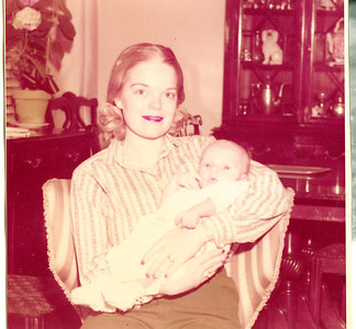 "Joyce Ellen (Thor) Berry (1935 - ) and her son Brett Kirk Berry (1958 - ) Written in the Rogers Reunion Photo Album Volume II page 13 above the photograph ""Joyce (Mrs. John C. Berry) with son Bret Kirk Berry (b Apr 17 1958)"" below the photo ""1958 photo""."