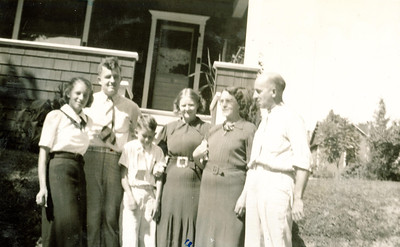 "Helen Gene Halowell (1918-1988), Harry Ford Kline (1918-2005), Donald Edgar Kline (1928- ), Nellie Esther Kline (1921-2007), Esther Amelia (Swanson) Kline (1898 – 1972), Ford Clark Kline (1898-1977).  Photo taken at the Ford Home on September 1, 1938 in Dubois, Pennsylvania.  Written in the Rogers Reunion Photo Album Volume II page 21 above the photograph ""Ford Kline Family at Ford's home Sep 1, 1938.  Photo is identified, perhaps by Will Dow, but 2 Nellies are listed.  I believe this is an error.  Harry & Esther had only 3 children.  I believe the family here is L to R – Helen Hollowell, who Harry married in 1939 then Harry, Donald, Nellie, Esther & Ford""  In this  typed description ""Harry and Esther"" should be Ford and Esther."