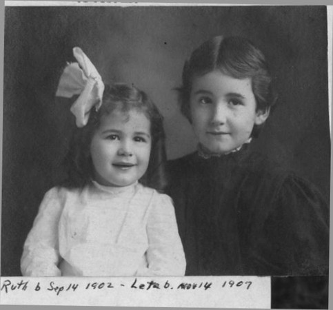 "Leta Lodema (Rowland) Berry (1902-1998), Ruth Rosannah (Rowland) Stone (1907-1976) Written in the Rogers Reunion Photo Album Volume II page 13 above the photograph ""Ruth & Leta Rowland  Ruth b Sep 14, 1902 – Leta b. Nov 14,1907""  The dates for Ruth and Leta have been switched in the photo album binder.  Leta was born in 1902, Ruth in  1907."