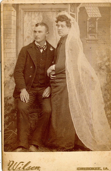 """Elwin E. Frantz (February 4, 1865 - September 10, 1892) son of Lavinna Adelaide Rogers and James E. Frantz and his wife Nancy Jane Barnholt  (March 20, 1869 - October 19, 1947).  They were married on February 18, 1888. The photograph is stamped """"Wilson     Cherokee, IA"""".  Written in the Rogers Reunion Photograph Album Volume 1, page 23 James E. Frantz' mother's name is spelled Lavina"""""""