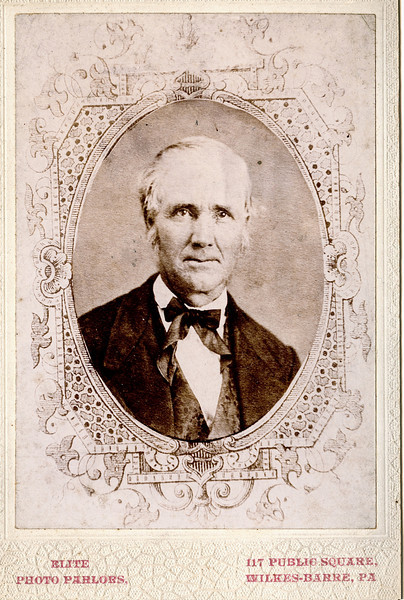 "George Doty Clark (May 17, 1815 - September 17, 1892) son of Philemon and Elizabeth (Chandler) Clark.  Photo taken Elite Photo Parlors, 117 Public Square, Wilkes-Barre, PA.  Written below the photo ""George Clark"".  Rogers Reunion photo album Volume 1 page 8."