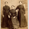 Photo taken in Ridgway, PA, possibly before the three sisters Percilla, Rosannah and Ruey moved from Pennsylvania to Illinois in 1865.<br /> L to R: Ruey Jerusha Rogers (1850-1933), Percilla Adeline Rogers (1844-1923), Rosannah Merilla Rogers (1833-1913)