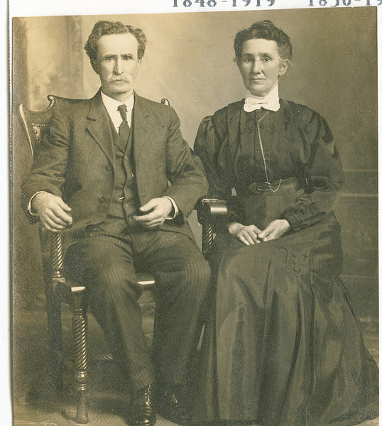 """Jacob P. Shaver (1848 - 1919) and his wife Ruey Jerusha Rogers (1850 - 1933). Written in the Rogers Reunion Photo Album Volume 1, page 35 """"Jacob & Ruey Shaver"""" under Jacob """"1848-1919"""" under Ruey """"1850-1933""""."""