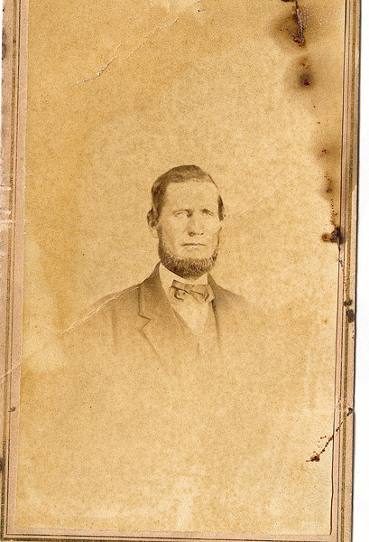 """Elias Rowland second husband of Rosannah (Rogers) Burrows.  Written above the photograph """"Elias Rowland Married 1868 died 1897""""  Included in Rogers Reunion Photo Album Volume 1 page 14."""