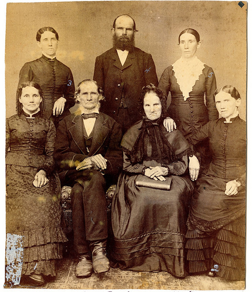 Joseph and Hannah Rogers and their children taken in Illinois about 1877 while Permilla, who lived in Pennsylvania, was visiting.  Their daughter, Lavinna Adelaide (Rogers) Frantz had died April 15, 1877.<br /> Standing L to R: Percilla Adeline (Rogers) Dew (July 2, 1844 – July 28, 1923), Gilbert Plummer Rogers (January 15, 1846 - March 13, 1925), Ruey Jerusha (Rogers) Shaver (June 15, 1850 – March 10, 1933)<br /> Seated L to R: Rosannah Merilla (Rogers) Burrows Rowland (July 24, 1833 - April 24, 1913), Joseph Rogers (June 27, 1807 - January 24, 1890), Hannah (Clark) Rogers (May 19, 1808 - July 24, 1888), Permilla Alvira (Rogers) Meredith (November 6, 1839 - June 22, 1913).