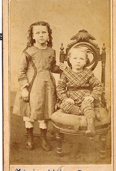 "Minnie Alice Dew (February 9, 1867 - November 12, 1958)) and William Alfred Dew (March 29, 1869 - June 12, 1965) children of Edwin Dew and Percilla Adeline Rogers. Written on the photograph ""Minnie & William Dew""  Written below the photo in the Rogers Reunion Photograph album Volume 1 ""Photo donated by Bonnie (Palmer) Harvey after her mother, Alice, died.""  Alice Martha Dew was the daughter of William Dew the boy sitting on the chair.  Alice married Paul Henry Palmer on February 2, 1967.  Alice and Paul had one daughter Bonnie Jean Palmer who married Elmer Harvey Jr. on September 7, 1946."
