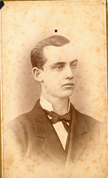 Leonard Sylvester Burrows (March 12, 1859 - August 14, 1919) son of Timothy Barlow and Rosannah Merilla (Rogers) Burrows.  Married Mary Smith in 1894. Photo taken Johnston Photographs, Polo, Illinois.  Rogers Reunion Photo Album Volume 1, page 10.