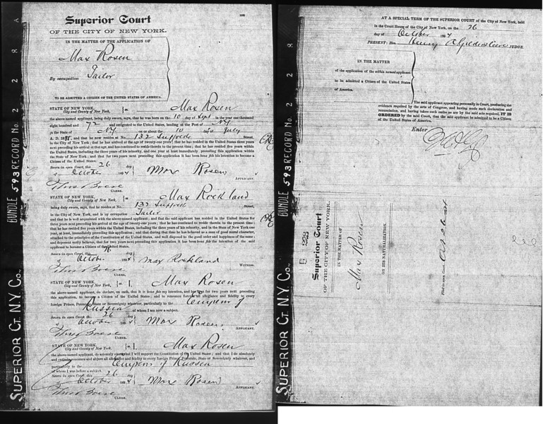 Max Rosen Citizenship papers<br /> <br /> July 10, 1888