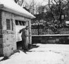 Carl Rothschild, shoveling snow, 1 Brownes Terrace, Englewood, NJ