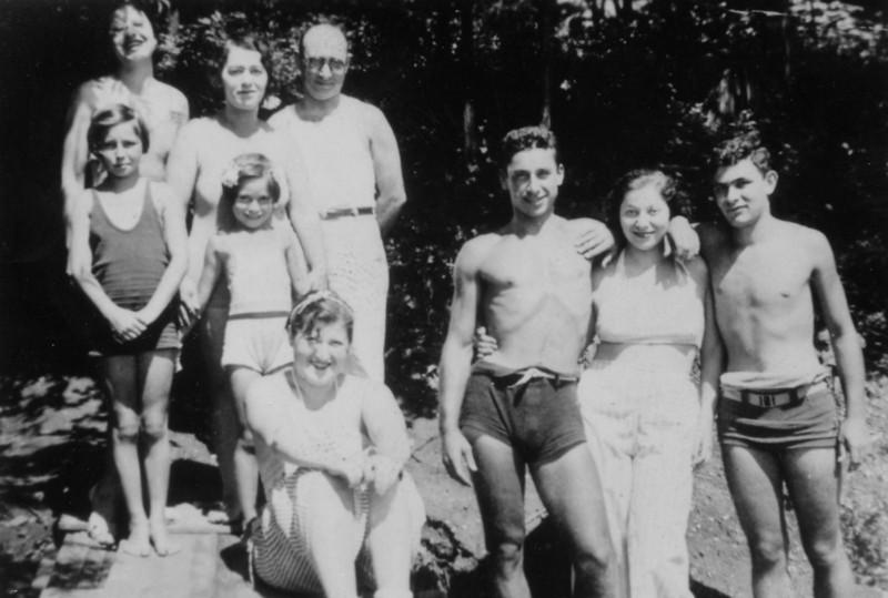 Top:  Minnie Kobrosky, Martha Miller, Meyer Ecker<br /> Second Row:  Judy Reffe, Norma Ecker, Annie, Micky Kobrosky, Elsie Kobrosky, Carl Rothschild<br /> <br /> Lake Congamond, NY<br /> c 1937
