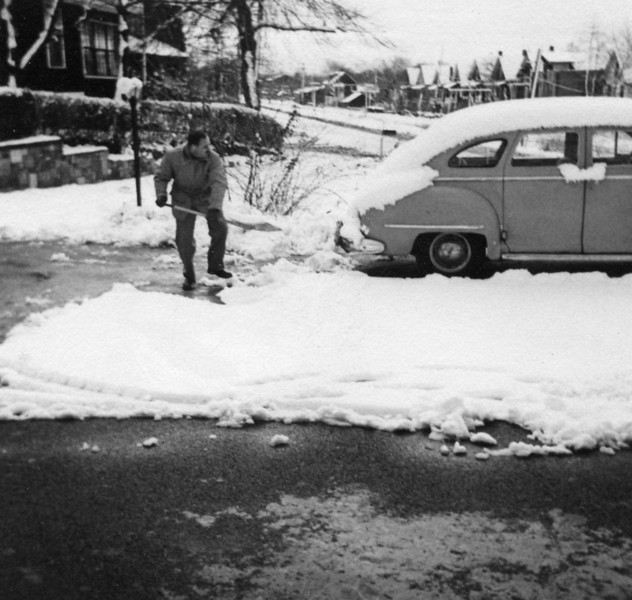 Carl Rothschild, shoveling snow, 1 Brownes Terrace, Englewood, NJ