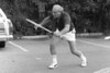 Carl Rothschild, playing tennis against the wall in the Englewood Hospital parking lot next door to 1 Brownes Terrace.<br /> <br /> Scan from old negative, taken in late 1970s