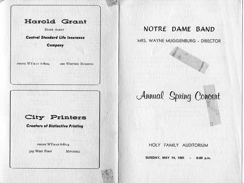 1961-05-14, Cathy Askew's Scrap Book, Notre Dame Band Program (Outside)