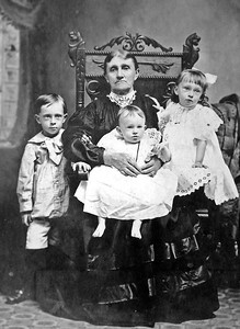 Catherine Ann (Sandy) Smith (1843-1924)  with her grandchildren circa 1908  Left to Right:  Hensel (1903-1987) , Repha (1908-1973) and Virginia (1905-1996) Smith
