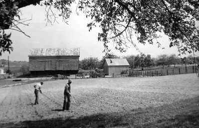 William Ken and son Joseph Albright Smith planting the garden early1950's, Cherry Hill Farm, Augusta County, Virginia