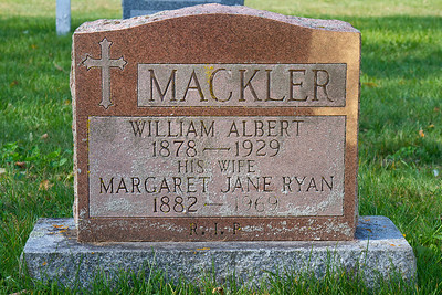 Mackler William Albert 1878 - 1929 his wife Margaret Jane Ryan 1882 - 1969 R.I.P.