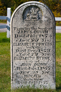 Pray for the souls of James Quinn died July 1873 aged 73 Yrs. Elizabeth Powers his wife died Dec 1873 aged 73 Yrs. Elizabeth Byrne wife of John Quinn Died July 1, 1877 Aged 39 Yrs, Michael their son Died July 1877 aged 5 Yrs.