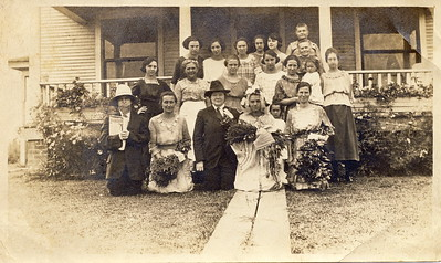 Unknown. Louisa Stein in far upper right. Appears to be a mock wedding with all women. Shower?