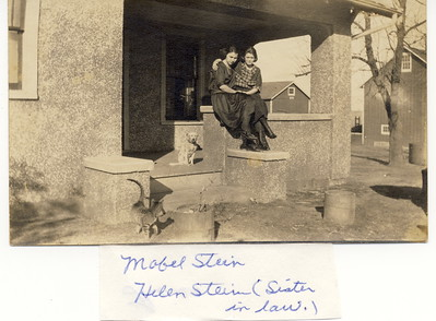 Mabel Stein and Easter Helen (Majors) Stein at Mendota Farm. Date unknown.