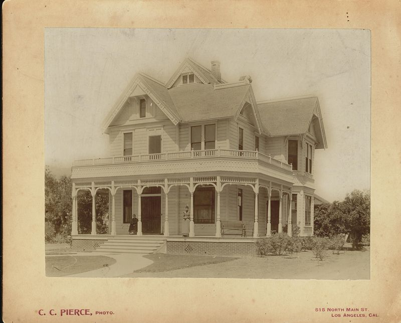 Frank D. Stevens home at 88 N. Marengo Ave, Pasadena, Los Angeles County, California.  Standing Dora M. Stevens seated Susan Bucher.
