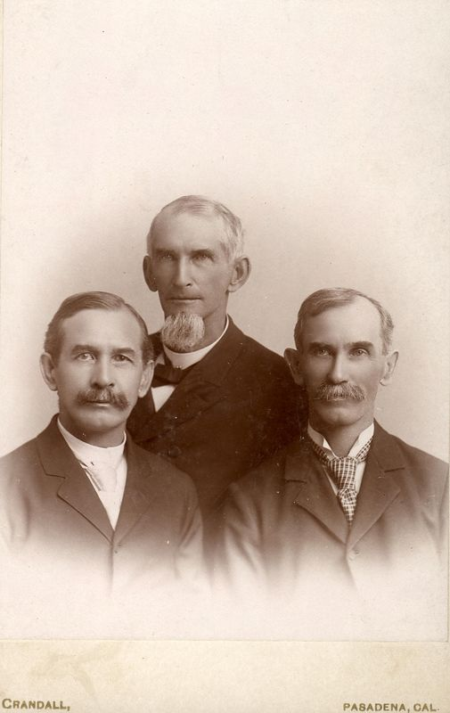 Brothers left to right<br /> Franklin Dyson Stevens (1841-1928)<br /> William Henry Stevens (1831-1901)<br /> Wesley Lee Stevens (1841-1928)<br /> taken in Calfornia when William was visiting