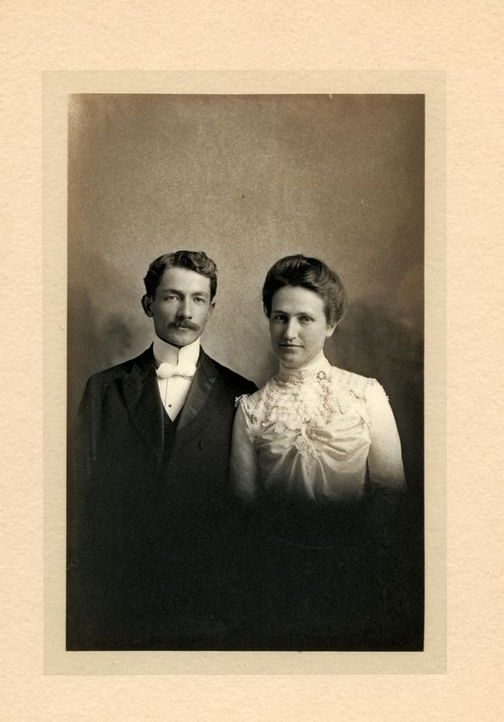 Rev. Frank G.H. Stevens (1874-1965) and his wife Zana (Terpening) Stevens (1878-1906) married December 1902. Taken while serving the Santa Monica Methodist Church.