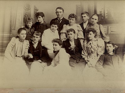 Pasadena High School class. Frank Gilbert Haven Stevens on the front row to the far right.