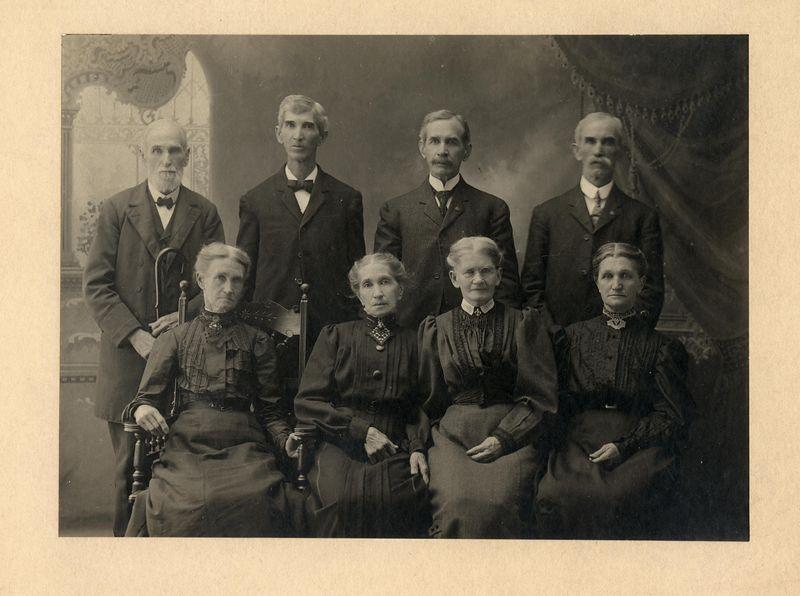 """Children of Benedict and Eve Stevens.<br /> L to R front Catherine """"Kate"""" Gilbert (Stevens) Covert (1834-1917)<br /> Rachel (Stevens) Heck (1836-1906)<br /> Rebecca """"Becky"""" (Stevens) Wright (1839-1913)<br /> Isabelle """"Belle"""" (Stevens) Heeter (1847-1930)<br /> Asa S. Stevens (1823-1911)<br /> Benedict Tarring Stevens (1838-1916)<br /> Franklin Dyson Stevens (1841-1928)<br /> Wesley Lee Stevens (1842-1928)"""