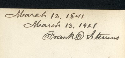 The back of the picture taken on his birthday March 13, 1921.