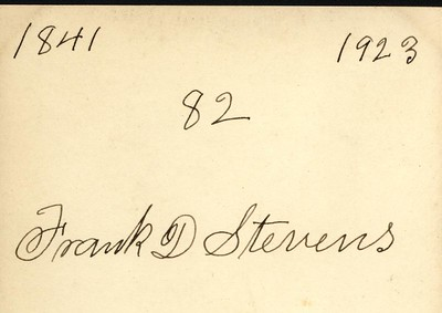 The back of the picture of Frank D. Stevens taken when he was 82.  Written in his own hand.