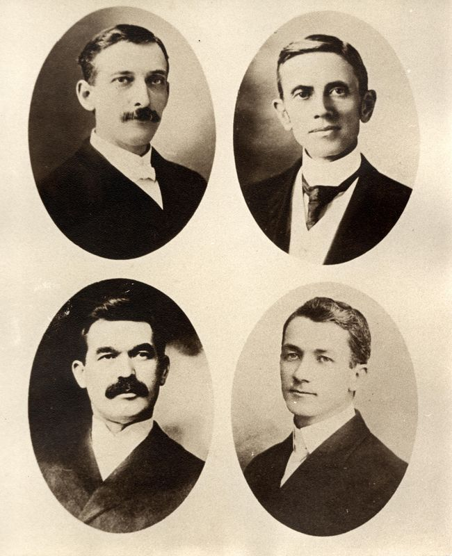 Four Preacher Cousins - Grandsons of Benedict Stevens<br /> Upper Left: Emory Miller Stevens (1858-1937) son of William Henry Stevens<br /> Lower Left: Orlando Graham Heck (1860-1910) son of Rachel B. Stevens Heck<br /> Upper Right: William Waters Stevens (1853-1909) son of David White Stevens<br /> Lower Right: Frank Gilbert Haven Stevens (1874-1965) son of Franklin Dyson Stevens