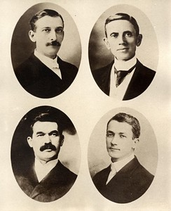 Four Preacher Cousins - Grandsons of Benedict Stevens Upper Left: Emory Miller Stevens (1858-1937) son of William Henry Stevens Lower Left: Orlando Graham Heck (1860-1910) son of Rachel B. Stevens Heck Upper Right: William Waters Stevens (1853-1909) son of David White Stevens Lower Right: Frank Gilbert Haven Stevens (1874-1965) son of Franklin Dyson Stevens