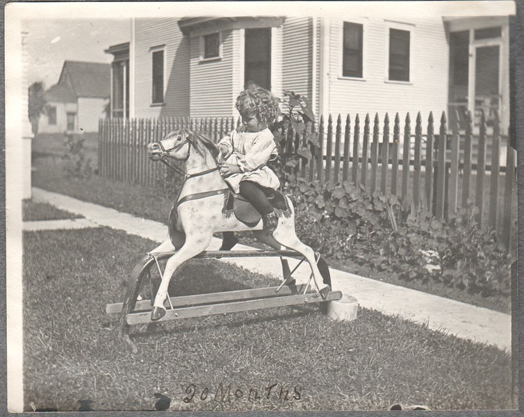 Don Stewart on his rocking horse, 1908
