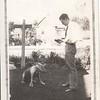 Don Stewart with Mac the dog, 1928