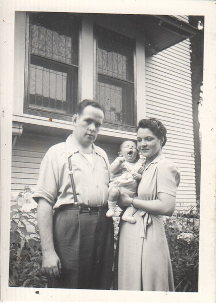 Don & Mary with baby Jim at 6 weeks, 1942